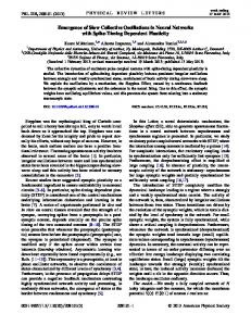 Emergence of Slow Collective Oscillations in Neural ... - ISC - Cnr