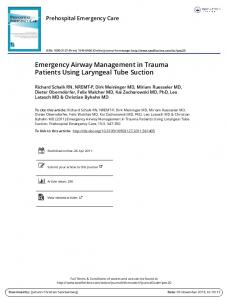 Emergency Airway Management in Trauma Patients