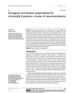 Emergency and disaster preparedness for ... - Semantic Scholar