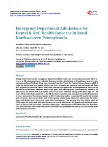 Emergency Department Admissions for Dental & Oral Health ...