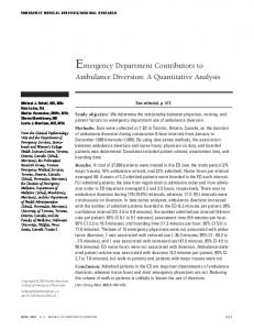 Emergency Department Contributors to Ambulance Diversion: A ...
