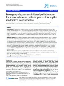 Emergency department-initiated palliative care for ... - CiteSeerX