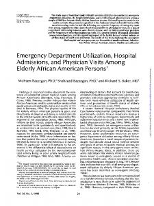 Emergency Department Utilization, Hospital ...