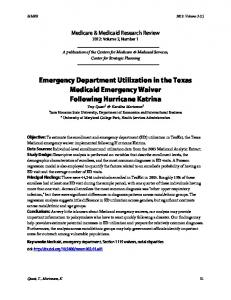 Emergency Department Utilization in the Texas Medicaid - CMS.gov
