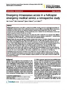 Emergency intraosseous access in a helicopter emergency medical ...