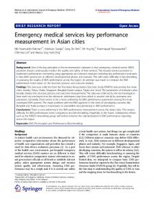 Emergency medical services key performance measurement in Asian ...