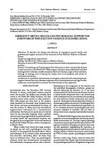 emergency mental health and psychosocial support for survivors of ...