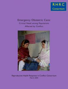 Emergency Obstetric Care: Critical Need among ... - ReliefWeb