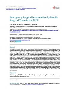 Emergency Surgical Intervention by Mobile