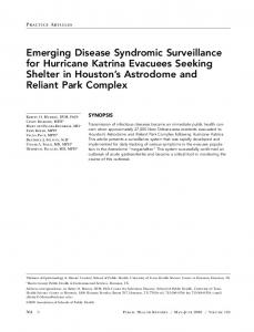 Emerging Disease Syndromic Surveillance for Hurricane Katrina ...