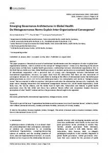 Emerging Governance Architectures in Global Health - Cogitatio Press