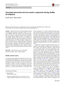 Emerging interactions between matrix components ... - Springer Link