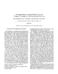 Emerging Issues in Fractured-Rock Flow and Transport Investigations ...