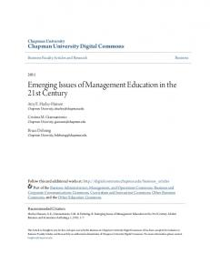 Emerging Issues of Management Education in the 21st Century