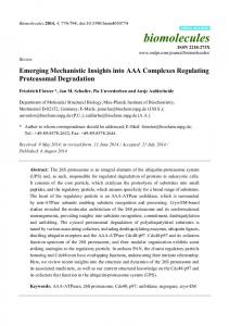 Emerging Mechanistic Insights into AAA Complexes ... - BioMedSearch