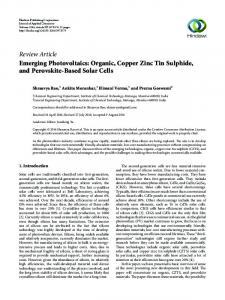 Emerging Photovoltaics: Organic, Copper Zinc Tin Sulphide, and ...