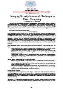 Emerging Security Issues and Challenges in Cloud Computing