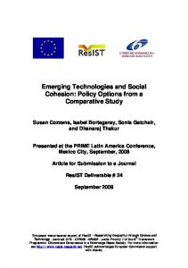Emerging Technologies and Social Cohesion - CiteSeerX