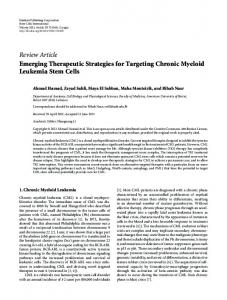 Emerging Therapeutic Strategies for Targeting Chronic Myeloid ...
