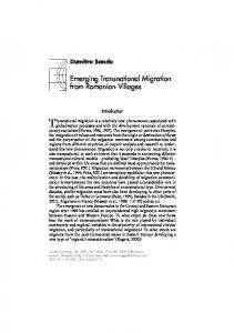 Emerging Transnational Migration from Romanian Villages