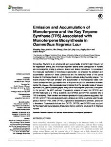 Emission and Accumulation of Monoterpene and ... - Semantic Scholar