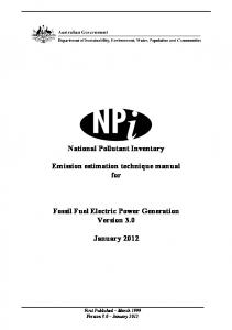 Emission estimation technique manual for fossil fuel electric power ...