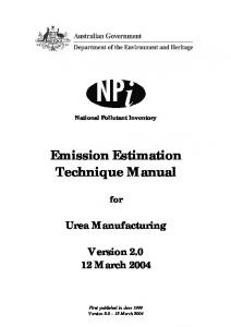 Emission Estimation Technique Manual for Urea Manufacturing ...