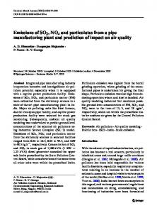 Emissions of SO2, NOx and particulates from a pipe manufacturing ...