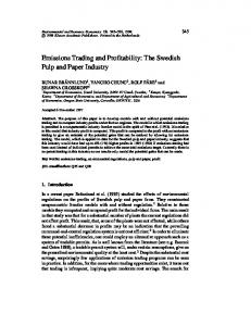 Emissions Trading and Profitability: The Swedish Pulp ... - CiteSeerX