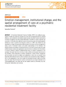 Emotion management, institutional change, and the ...
