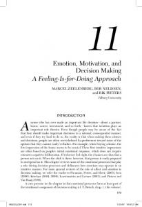 Emotion, Motivation, and Decision Making