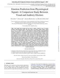 Emotion Prediction from Physiological Signals: A Comparison Study ...