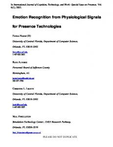 Emotion recognition from physiological signals for presence - CiteSeerX