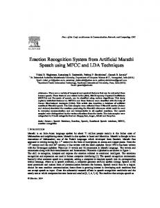 Emotion Recognition System from Artificial Marathi ... - Semantic Scholar
