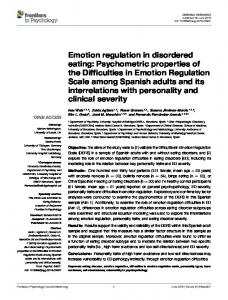 Emotion regulation in disordered eating: Psychometric ... - Core
