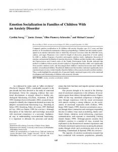 Emotion Socialization in Families of Children With an ... - Springer Link