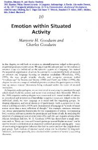 Emotion within Situated Activity