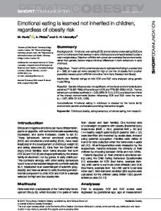 Emotional eating is learned not inherited in ... - Wiley Online Library