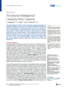 'Emotional Intelligence': Lessons from Lesions - Cell Press