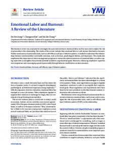 Emotional Labor and Burnout: A Review of the Literature