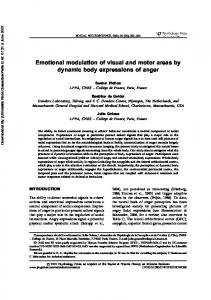 Emotional modulation of visual and motor areas ... - Beatrice de Gelder