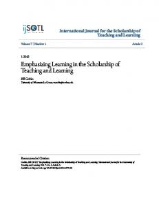 Emphasizing Learning in the Scholarship of Teaching and Learning