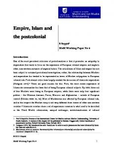 Empire, Islam and the postcolonial - University of South Australia