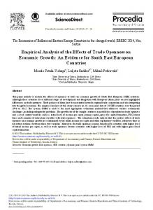Empirical Analysis of the Effects of Trade Openness on ... - ScienceDirect