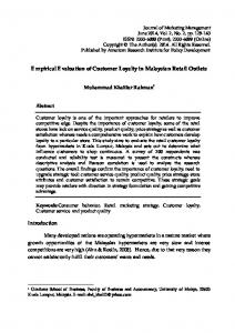 Empirical Evaluation of Customer Loyalty in Malaysian Retail Outlets