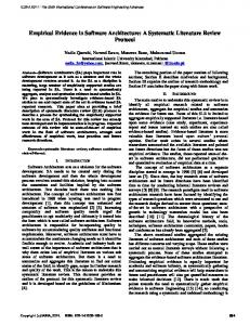 Empirical Evidence in Software Architecture: A ... - Semantic Scholar