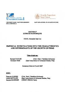 empirical investigations into the characteristics and