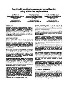 Empirical investigations on query modification using abductive
