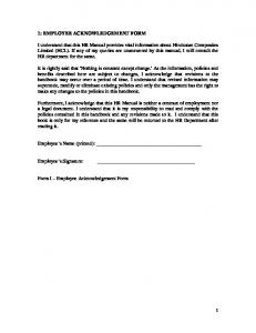 Employee Statement of Acknowledgement Receipt of Employee ...