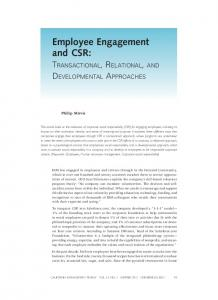 Employee Engagement and CSR